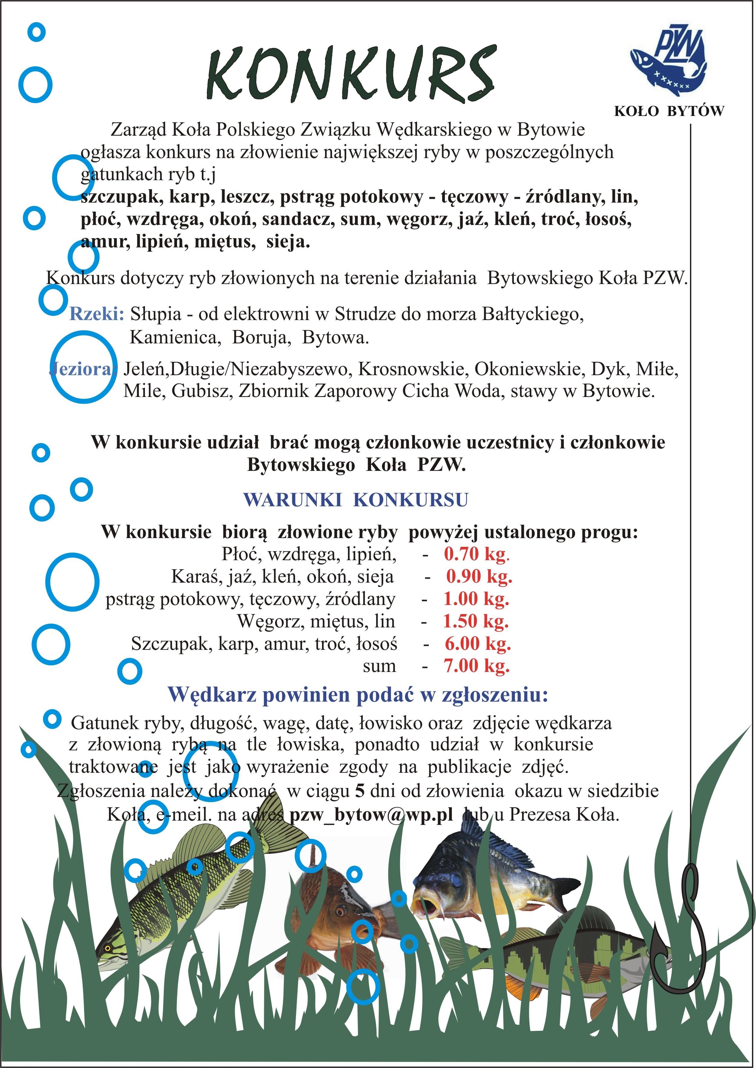 Regulamin konkursu największa złowiona ryba